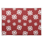 Red White Helm Print Cloth Placemat