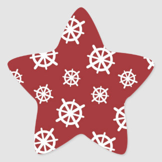 Red White Helm Print Star Sticker