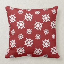 Red White Helm Print Throw Pillow