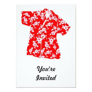 Red & White Hibiscus Aloha Shirt Card