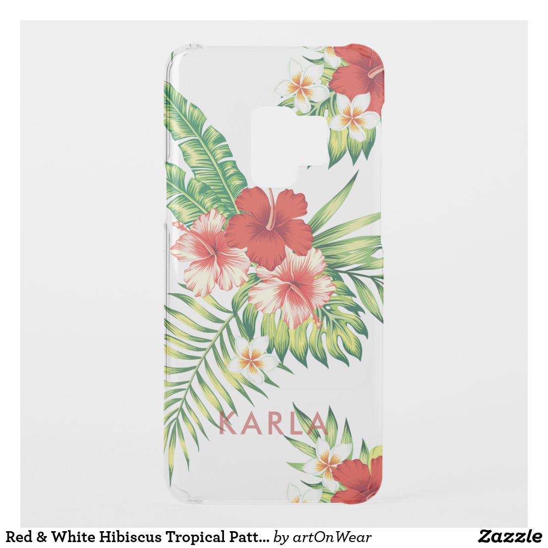 Red & White Hibiscus Tropical Pattern