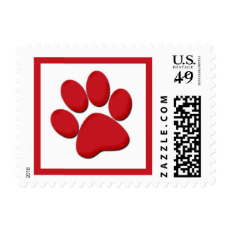 Red white holiday paw print stamps