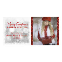 RED White Holidays Christmas / New Year | PHOTO Card