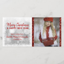 RED White Holidays Christmas / New Year | PHOTO Holiday Card