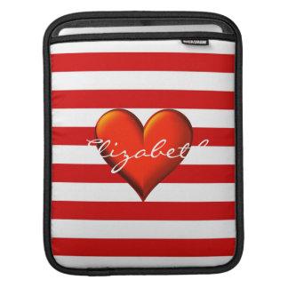 Red White Horiz Stripe Red Metallic Heart Monogram iPad Sleeve