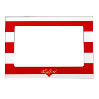 red white horiz stripe red metallic heart monogram magnetic picture frame