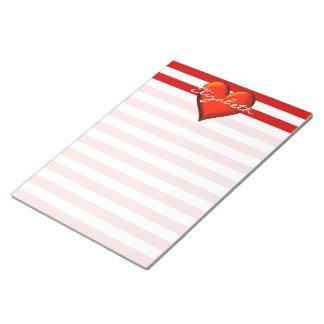 Red White Horiz Stripe Red Metallic Heart Monogram Notepad