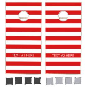 Red White Horizontal Preppy Stripe Name Monogram Cornhole Sets
