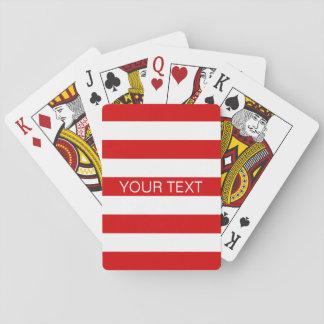 Red White Horizontal Preppy Stripe Name Monogram Playing Cards