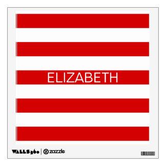 Red White Horizontal Preppy Stripe Name Monogram Wall Sticker