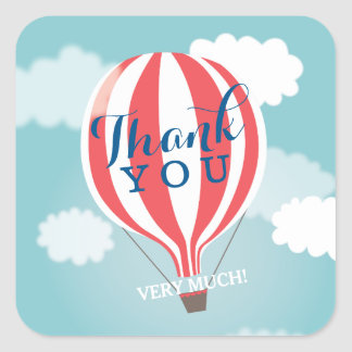 Red White Hot Air Balloon Thank You Stickers