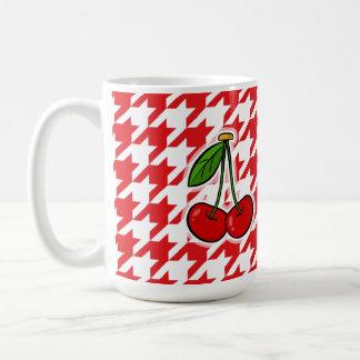 Red & White Houndstooth; Cherries Mugs