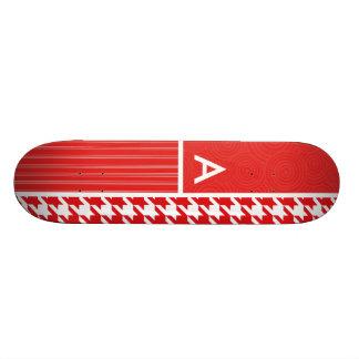 Red & White Houndstooth Custom Skateboard
