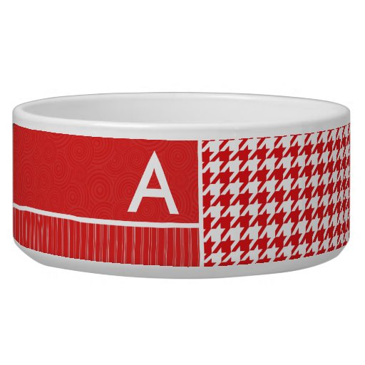 Red & White Houndstooth Dog Food Bowl