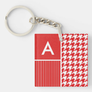 Red & White Houndstooth Acrylic Keychains