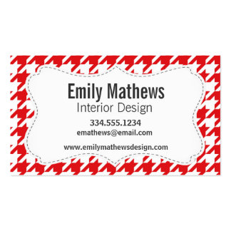 Red & White Houndstooth Pattern Business Card