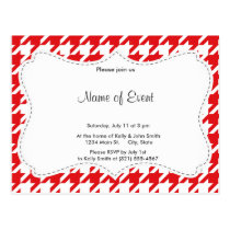 Red & White Houndstooth Pattern Postcard