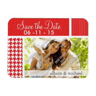 Red & White Houndstooth Rectangle Magnet