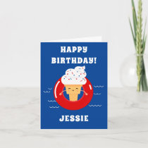 Red White Ice Cream Pool Party Kids Summer Card
