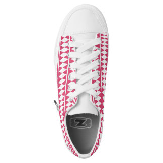 Red white indian diamond pattern Low-Top sneakers