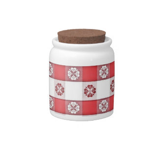Red White Italian Tablecloth Print Candy Dish