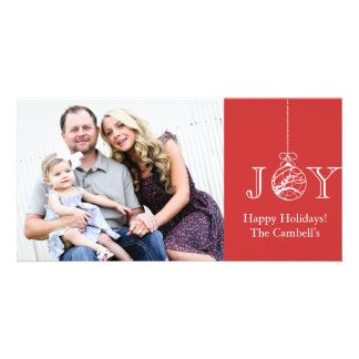 Red & White JOY Holiday Photocard Card