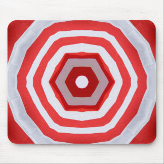 Red & white kaleidoscope design mouse pads