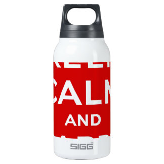 Red & White Keep Calm And Carry On Insulated Water Bottle
