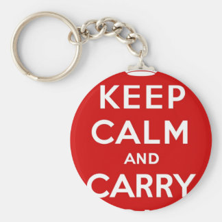 Red & White Keep Calm And Carry On Keychain