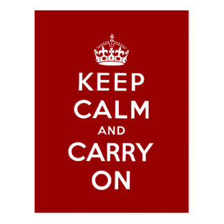Red White Keep Calm and Carry On Postcard