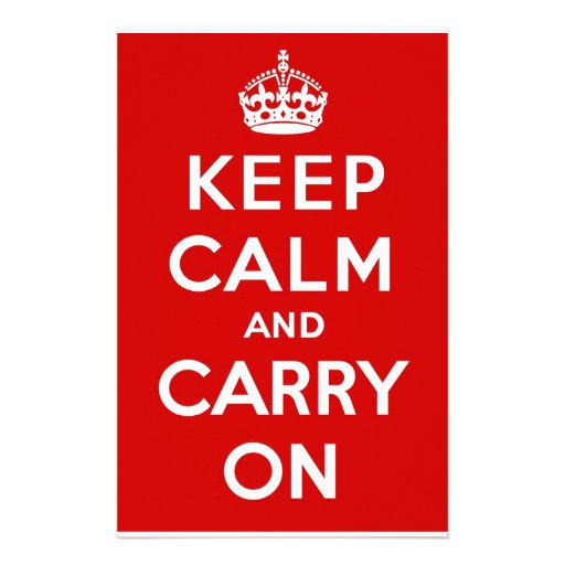 Red & White Keep Calm And Carry On Stationery Design