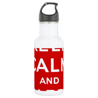 Red & White Keep Calm And Carry On Water Bottle