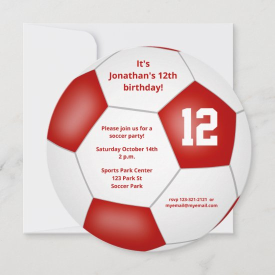 red white kids soccer themed birthday party announcement