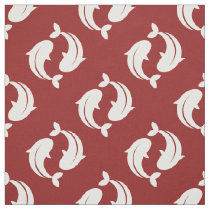 Red white Koi Fish oriental pattern fabric