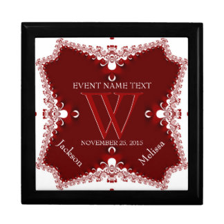 Red White Lace Border Wedding Anniversary Gift Box