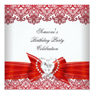 Red White Lace Bow Diamonds Images Birthday Party Card
