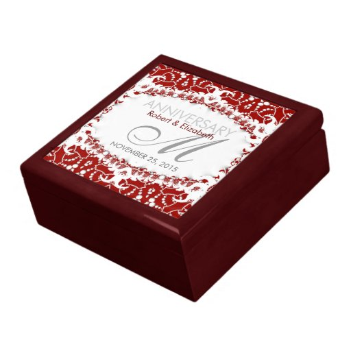 Red White Lace Wedding Anniversary Gift Box