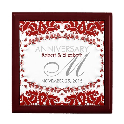 Wedding Anniversary Gift Box : Red+White Lace Wedding Anniversary Gift Box Zazzle