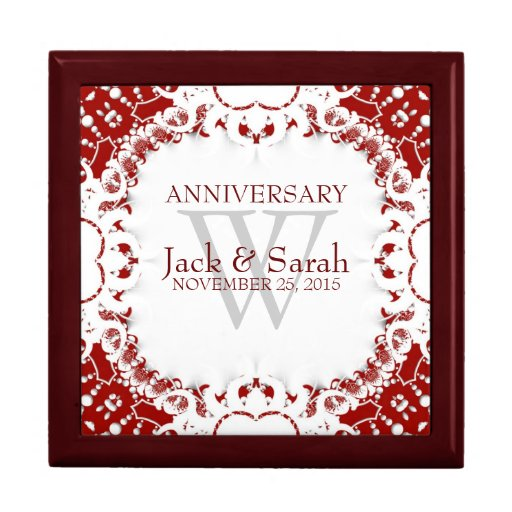 Wedding Anniversary Gift Box : Red+White Lace Wedding Anniversary Gift Box Zazzle