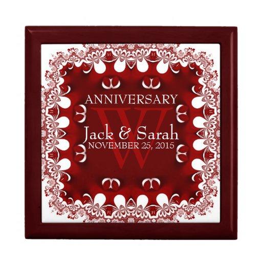 Red+White Lace Wedding Anniversary Gift Box Zazzle