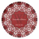 Red+White Lacy Art Wedding Keepsake Gift Plate