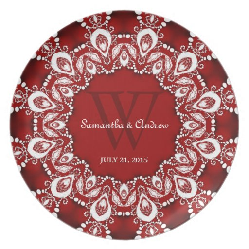 Red White Lacy Art Wedding Keepsake Gift Plate