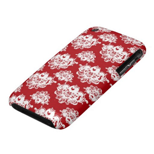 red white large romantic damask iPhone 3 Case-Mate case