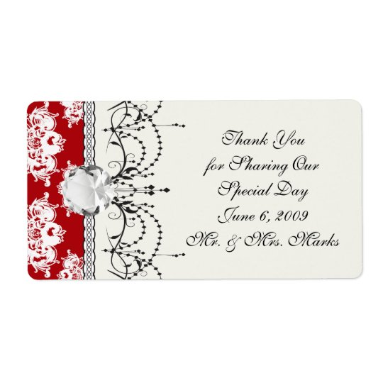 red white large romantic damask label