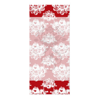 red white large romantic damask pattern personalized rack card
