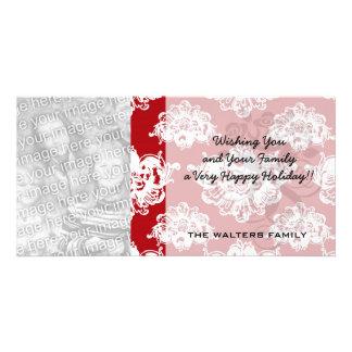 red white large romantic valentine damask photo greeting card