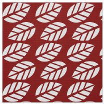 Red white leaves pattern fabric