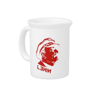 Red White Lenin Communist Artwork Drink Pitchers