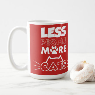 Red White Less People More Cats with Funny Paw Coffee Mug