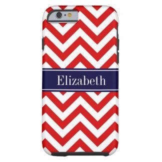 Red White LG Chevron Navy Blue Name Monogram Tough iPhone 6 Case